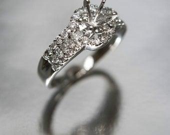 0.69 Cttw G VS Round Diamond Semi Mount Engagement Ring in 14K White Gold