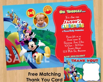 Mickey Mouse Clubhouse Invitation & Thank You Note - Printable Birthday Party Personalized Photo Card Invites - Minnie Donald Daisy