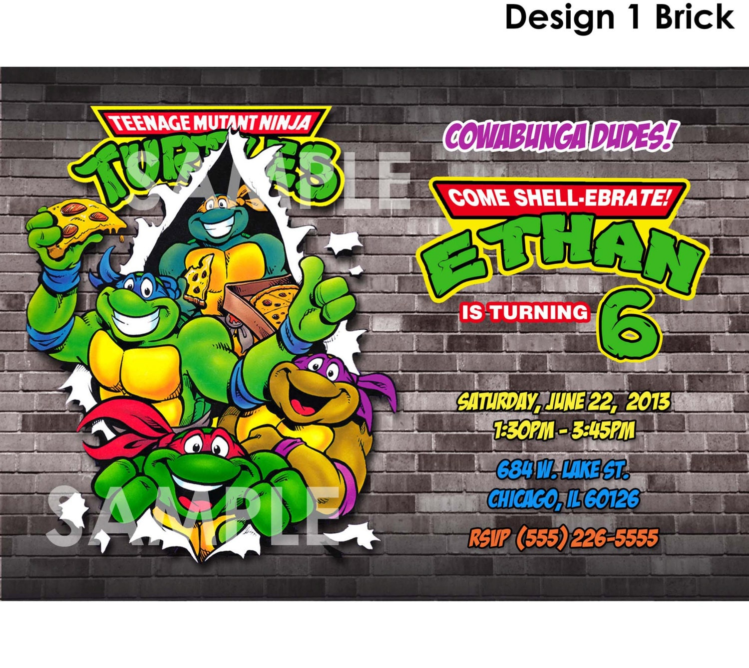 Personalized Ninja Turtle Invitations as great invitations template