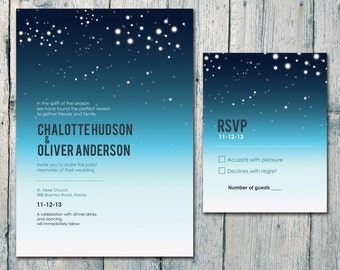 Printed Card | 50-75 Sets | Romantic Night Sky and Stars Wedding Invitation and Reply Card Set - Wedding Stationery - ID164