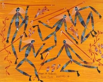 Dancing boys with sticks (no. 2) - Original Aboriginal painting