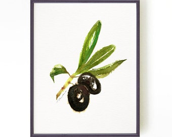 Olive branch watercolor painting, Kitchen art, Fruit Art, Botanical print, Wall art, Black Olive, Italy culinary print, Buy 2 Get 1 Free