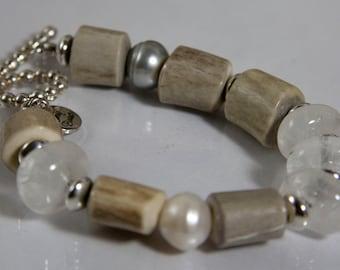 Jackson Hole Bracelet - antler, freshwater pearls, quartz crystal and sterling silver