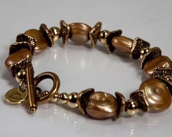 Fair Maiden Bracelet - freshwater pearl, bronze and gold filled rounds