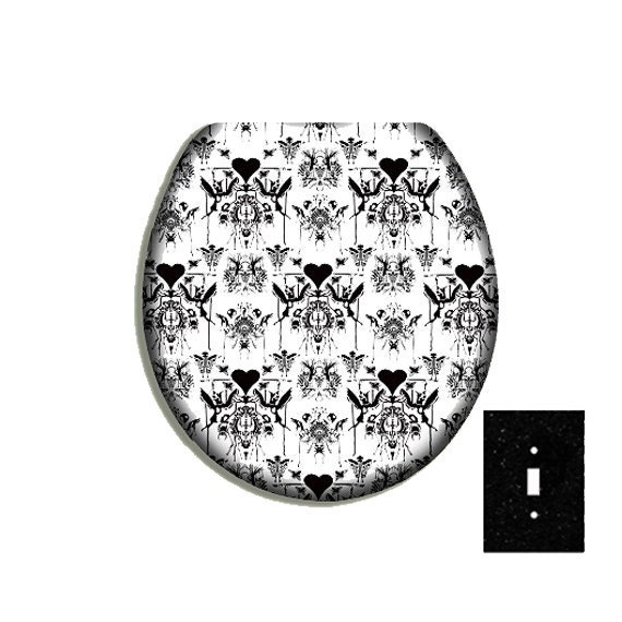 BLACK AND WHITE TOILE Bemis Toilet Seat By CityDwellersBoutique