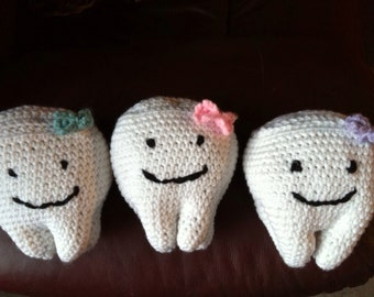 Tooth  amigurumi. (Pouch for tooth on back), tooth pillow, stuff tooth, stuffed toy