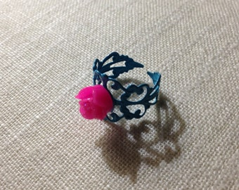 Pregnancy & Infant Loss Awareness Filigree Rose Ring