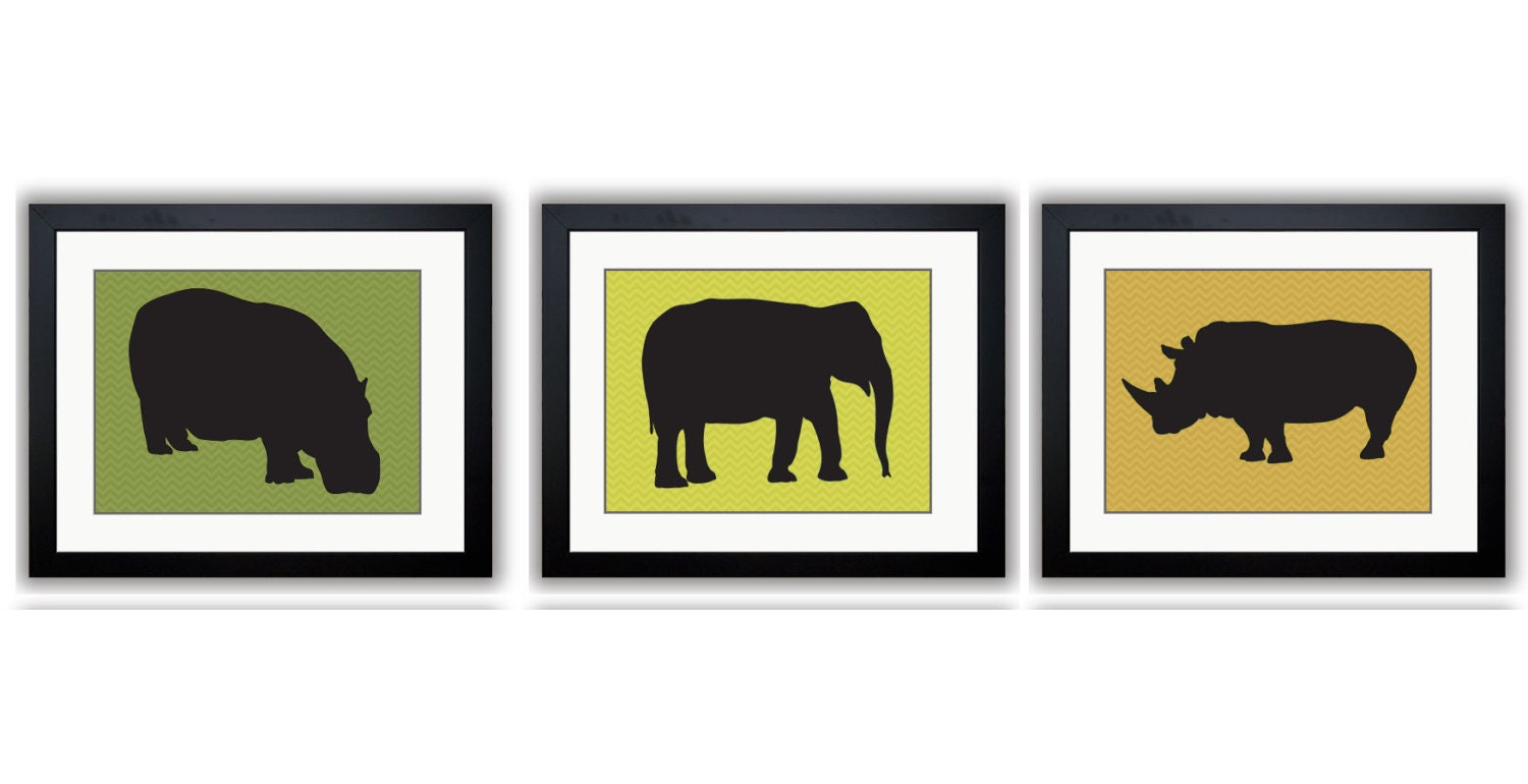 African Safari Animals Art Prints Chevron Set of 3 Hippo Elephant Rhino Kids Room Art Nursery Art Nu