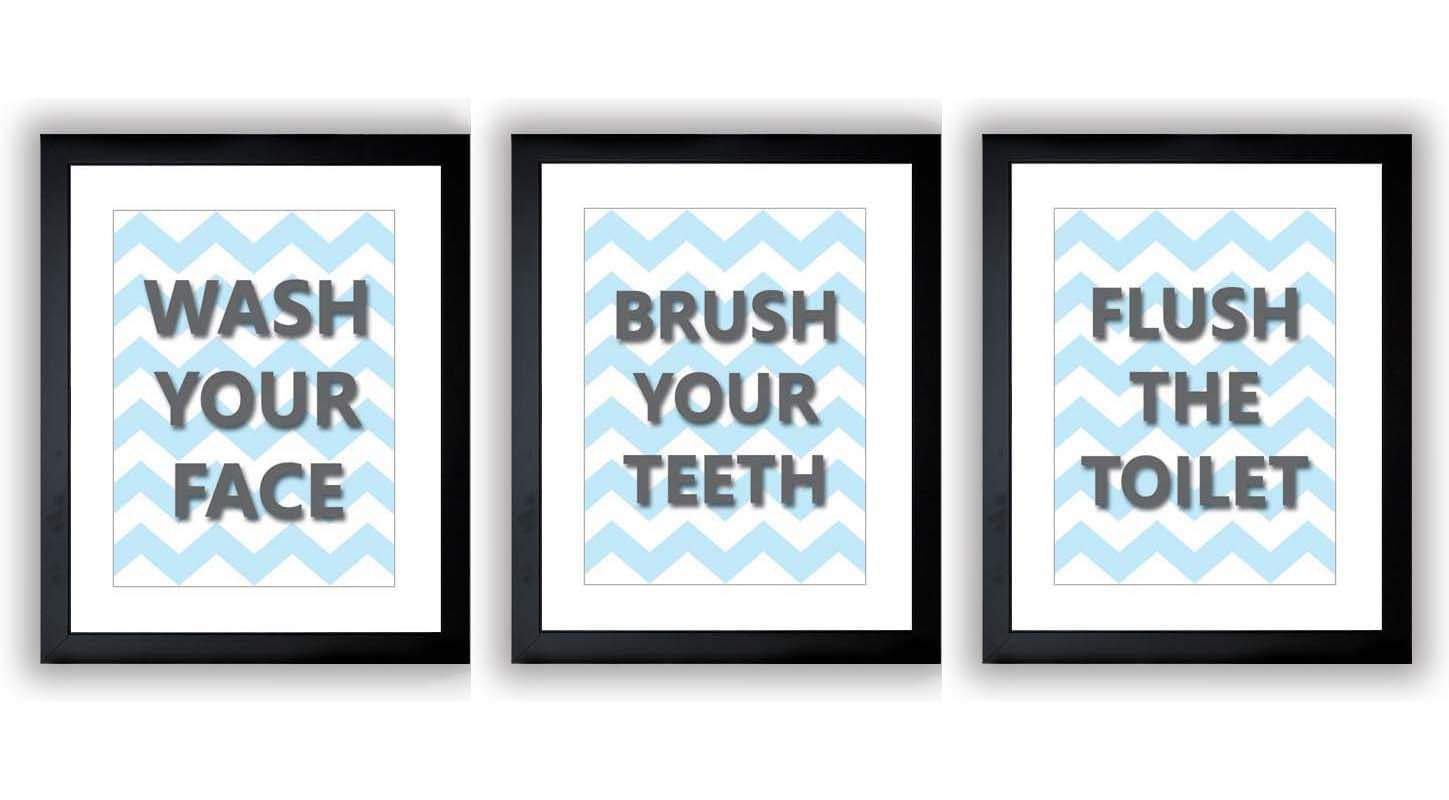 Blue Grey Gray Bathroom Nursery Art Child Baby Art Print Set of 3 Kids Wall Art Decor Chevron Wash B