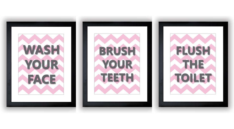 Pink Grey Gray Bathroom Nursery Art Child Baby Art Print Set of 3 Kids Wall Art Decor Chevron Wash B