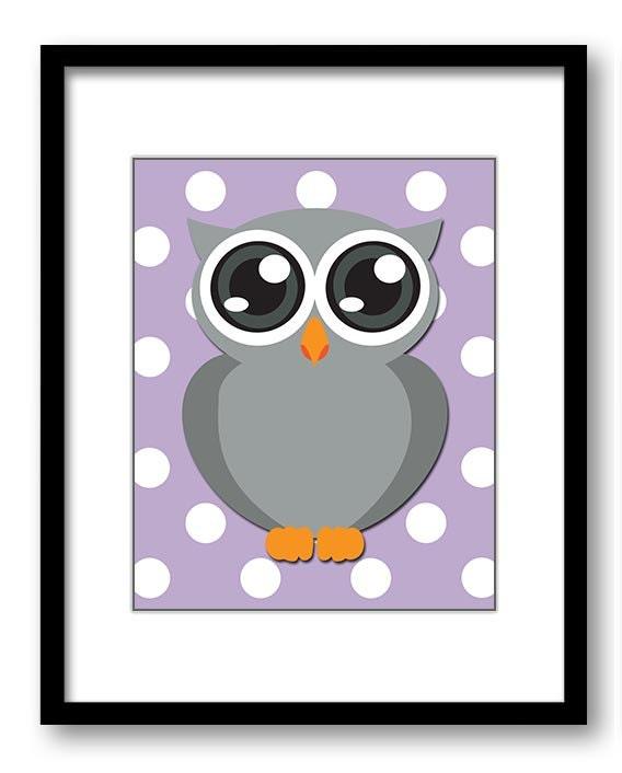 Owl Nursery Art Nursery Print Grey Owl Purple Polka Dots Baby Art Baby Animal Pink Print Child Kids