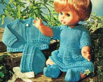 "Dolls clothes  Knitting pattern for 14"" & 18"" doll. PDF version to download"