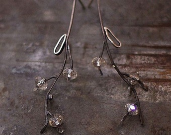 SALE 10 - 20 % OFF use the code • Swarovski crystal flower earrings •  925 sterling silver •  oxidized silver • black silver
