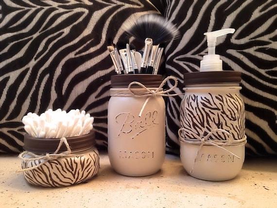 mason jar gift set mason jar decor mason jar soap dispenser zebra