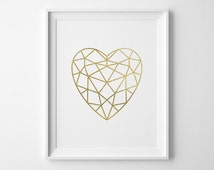 Gold Heart Print, Valentines Day Gift, Modern Bedroom Decor, Minimalist Matte Faux Gold Faceted Heart, Gold and White Geometric Bedroom Art