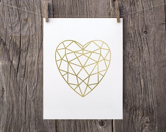 5x7 Gold Heart Printable, Modern Bedroom Decor, Gold Minimalist Art, Gold Faceted Heart Print, Geometric Heart Valentines Day Printable Gift
