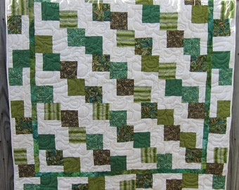 Small lap quilt,machined pieced, longarm machine quilted, great for child
