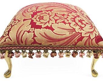 Corona Decor Co. Italian Fine Brocade Footstool with Hand Tied Fringe