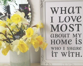 Print by Honey and Fizz - What I love most about my home. An inspiring quote printed on matt 200gsm paper - white