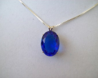 Created Electric Blue Sapphire Pendant in Sterling Silver