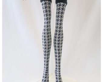 Dolls stockings for Monster high doll - midnightblue/white Houndstooth No.597