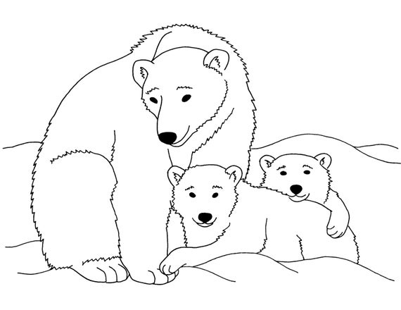 Items similar to Polar Bears Printable Coloring Page - Instant ...