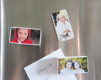 Personalized Photo Magnets in Pine Wood of your baby, family, kids, pets, unique gift for grandparents,Christmas, Set of 3