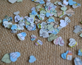atlas mini heart confetti, map mini heart confetti, wedding heart confetti, wedding shower confetti, going- away party confetti- 300 pieces