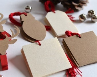 christmas gift tag kit, DIY christmas wrapping kit- 40 gift tags with string, 5 red reindeer mini clothespins, 10 mini jingle bells