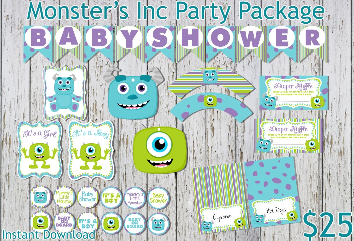 Monster Inc Baby Shower Decorations Monsters Inc Inspired Baby Shower Party Package