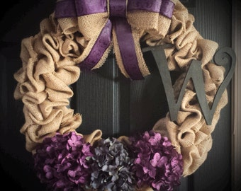 Personalized Burlap Wreath with Bow You Choose Colors