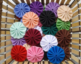 100 pcs mixed, assorted solid colours, 2 inches fabric yoyos - OR Pick Your Colours