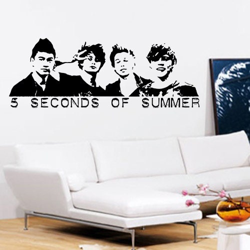 5 seconds of summer wall art vinyl wall art by eggheadgifts for 5sos room decor ideas