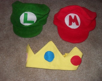 Mario, Luigi Hats & Princess Peach Crown.  Great for any type of event.