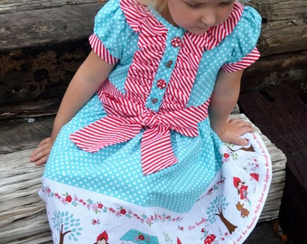 Baby and Girl's Classic Ruffle Dress or Shirt, PDF Sewing Pattern, Sizes NB-24months, 2T-8