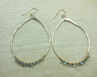 14k gold fill wide gauge oval hoops with labradorite gemstones