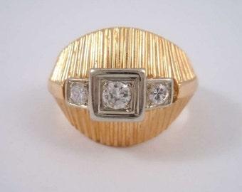 18K Gold (10Gramm)  ring with 0.3 ct diamonds Art Deco round 1940