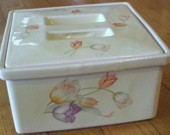 SALE - Hall Shaggy Tulip Square Covered Casserole Dish - Rare - 1940's