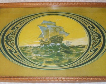 Vintage Nautical Print Wood Frame Serving Tray