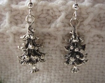 Evergreen Tree Earrings: sterling silver evergreen tree charms on fish hook wires