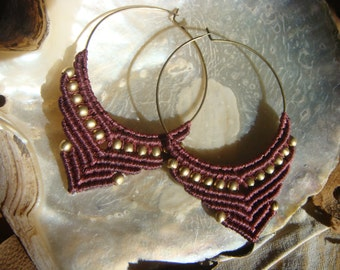 Macrame Hoop Earrings /  Tribal Jewelry / Brass Beads / Dark Crimson Color