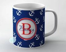 Navy blue anchor mug personalized monogram name on to white ceramic cup, FREE COASTER -13