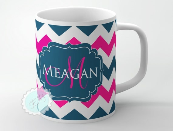 Petrol blue chevron and hot magenta with wedding monogram on to white ceramic cup