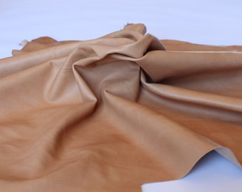 Premium Italian Lambskin soft leather Hides - Natural Tan 6 sqft
