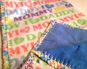 Pink Toot Toot Crochet Edge Blanket, Double Fleece, I Love Mommy, I love Daddy Fleece, 36x36 #36D-15,16,17