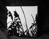 Beach Grass   -- 12 x 12 Pen and Ink Drawing on Canvas