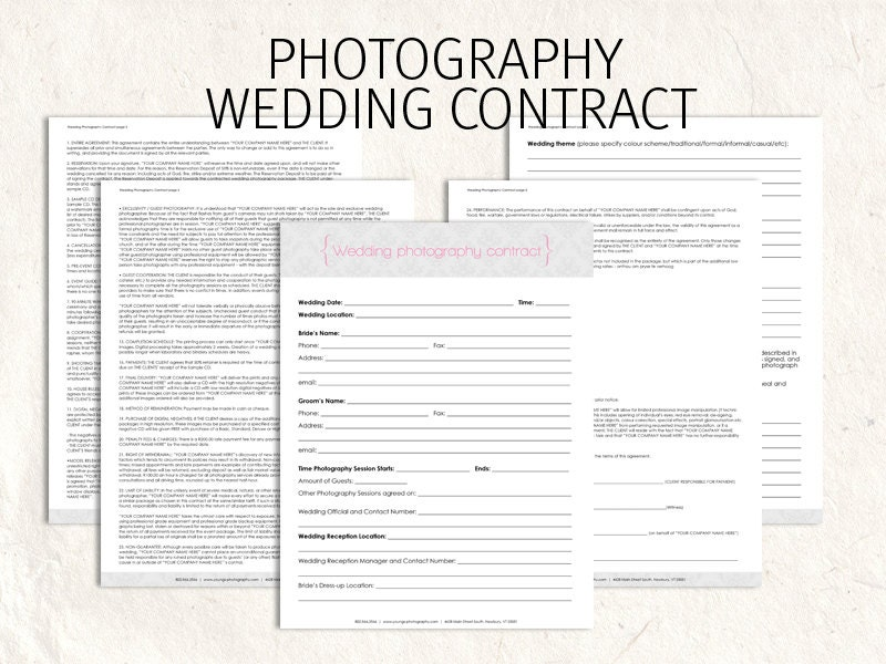 wedding photography contract business forms damask editable