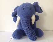 Hand knitted toy soft toy plush toy stuffed toy cuddly toy knitted animal for baby or child- Elephant knitted Elephant - Georgebearcompany