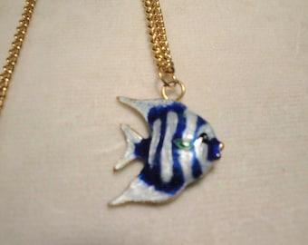 Blue Enamel Fish Necklace