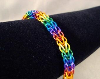 Chainmail Bracelet Rainbow Pride FP weave
